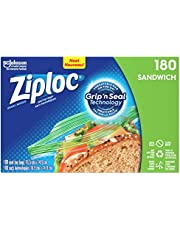 Ziploc Snack and Sandwich Bags for On-The-Go Freshness, Grip 'n Seal Technology for Easier Grip, Open, and Close, 180 Count