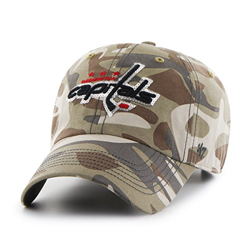 Washington Capitals Snap (NHL Washington Capitals Women's Sparkle Camo Clean Up Adjustable Hat, One Size, Faded Camo)