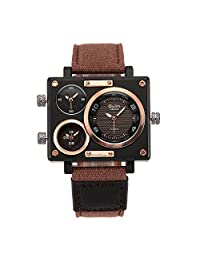 Oulm 3595 Men's Military Sport Multi Time Zone Canvas Band Quartz Watch-Brown