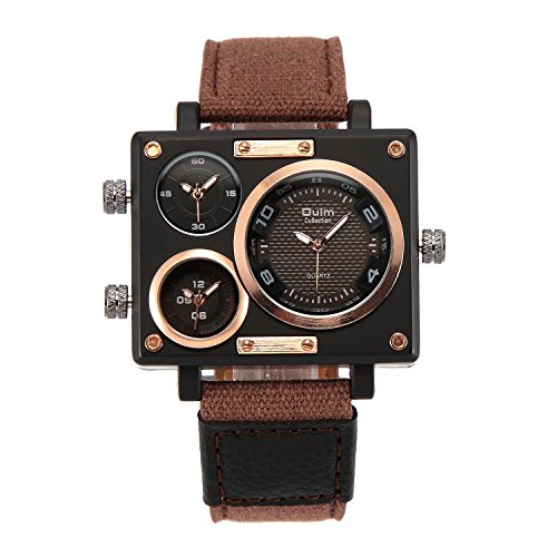 - PHCOOVERS Men's Military Sport Multi Time Zone Canvas Band Square Dial Analogue Quartz Watch-Brown