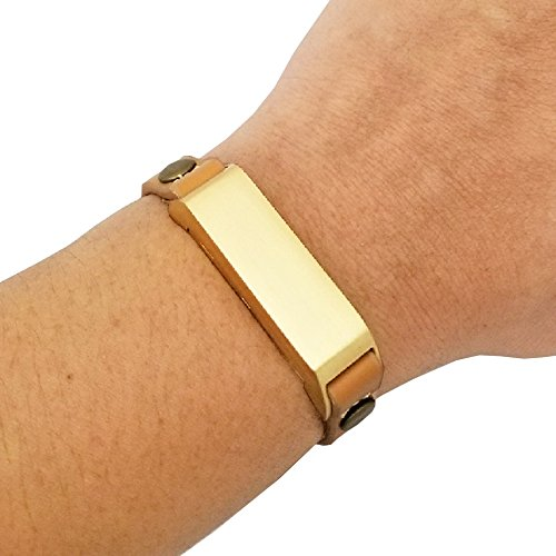 Bracelet for Fitbit Flex or Fitbit Flex 2 Fitness Activity Trackers - The KATE Studded Single-Strap Premium Vegan or Genuine Leather Buckle Bracelet (Tan & Gold Circle Studs, Fitbit Flex 2 , S/M)