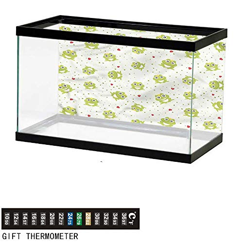 bybyhome Fish Tank Backdrop Animal,Frog Prince on Dotted Heart,Aquarium Background,36