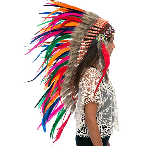 Long Feather Headdress- Native American Indian Inspired- Handmade by Artisan Halloween Costume for Men Women with Real Feathers - Rainbow Rooster (Balinese Hat)