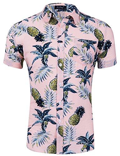 XI PENG Men's Tropical Short Sleeve Floral Print Beach Aloha Hawaiian Shirt (Pineapple Palm Peach Pink, -