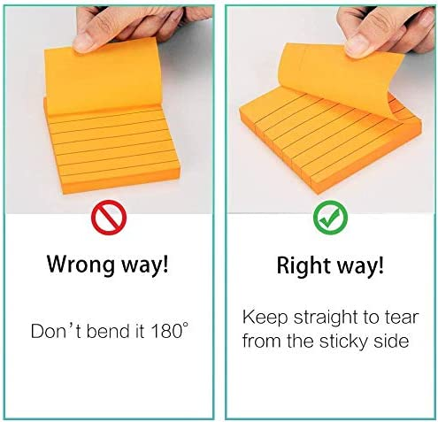 Strong Sticking Self-Stick Pads for Office Woffice 3x3 Inch Lined Sticky Notes 5 Bright Color and Home School 15 Pads 1050 Sheets Total