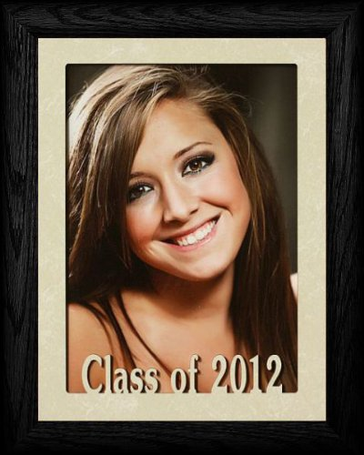 PersonalizedbyJoyceBoyce.com 5x7 JUMBO ~ CLASS OF 2012 Portrait Picture Frame ~ Laser Cream Marble Mat with BLACK Oak - Gifts Graduation 2010
