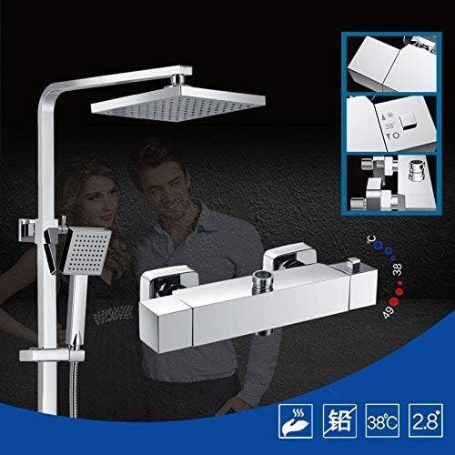 BZM-ZM 蛇口サーモスタットクロム真鍮ミキサータップには、ハンドシャワーヘッドセット壁蛇口降雨ST01012022、ライトグレー蛇口バスルームに取り付けられました