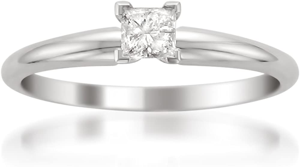 14k White Gold Princess-cut Diamond Solitaire Engagement Ring (1/4 cttw, I-J, I2)
