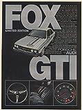 1978 Audi Fox GTI Limited Edition Print Ad (66871)