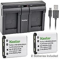Kastar LI42B 2x Battery + USB Dual Charger for Olympus LI-42B LI-40B, Fujifilm NP-45, Nikon EN-EL10, Kodak KLIC-7006 K7006, Casio NP-80 CNP80, Pentax D-Li63, D-Li108, Ricoh DS-6365 Battery.