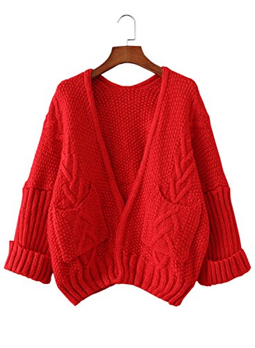 Futurino Women's Boxy Twist Knitted Roll Up Sleeve Open Front Cardigan Sweater