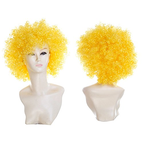 Multi Color Red Green Curly Short Clown Party Wig Halloween Costume (yellow)