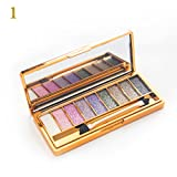 Sporthway Women 9 Colors Waterproof Make UP Glitter Eyeshadow Palette with Brush (Color 1)