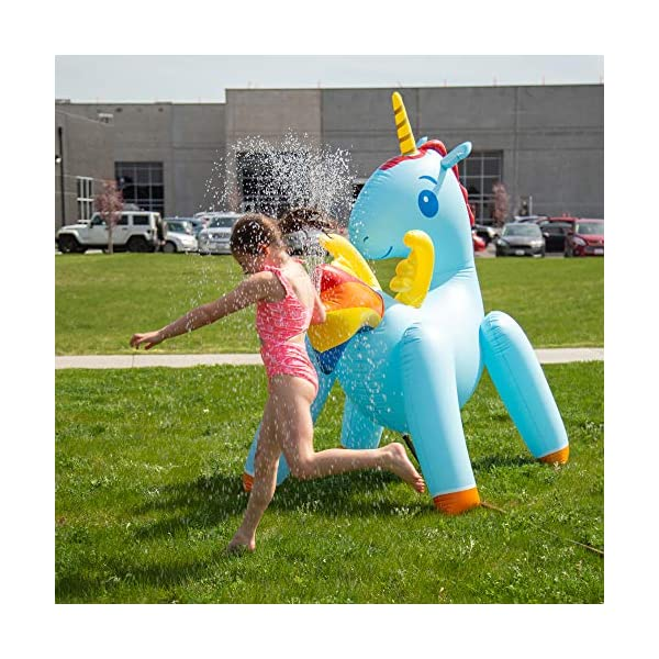 JumpOff Jo Unicorn Yard Water Sprinkler, Large Inflatable Toy, 44 x 60 x 67 Inches 8