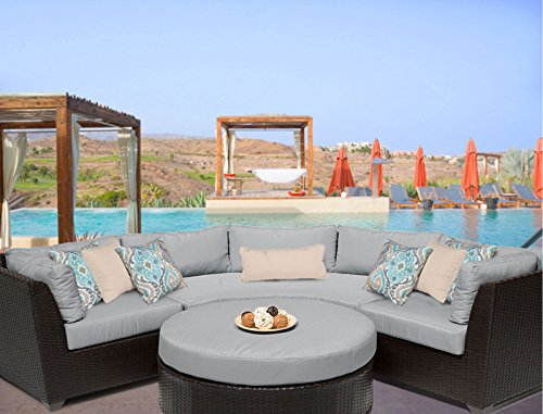 TK Classics BARBADOS-04a-GREY Barbados 4 Piece Outdoor Wicker Patio Furniture Set, Grey For Sale