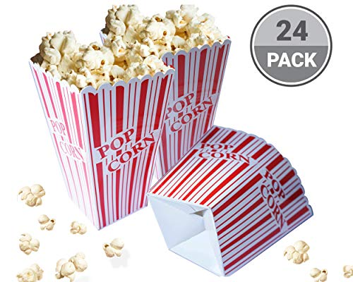 Red and White Popcorn Boxes for Party, Easy Assembling Popcorn Holders from Cestash, Pack of 24, 350 gsm Trendy Paper Popcorn Bags for Parties, Picnics, Movie Night ()