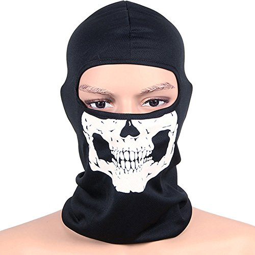 ITODA Cycling Skull Black Balaclava Mask Helmet Liner Cover Windproof Breathable Neck Protective Outdoor Hood Scarf Full Face Hat Head Wrap for Men and Women ()