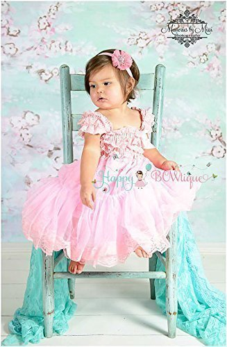 963a7225bda1 Amazon.com  2 pcs Baby Pink Chiffon Lace Dress set ~ Flower Girl ...