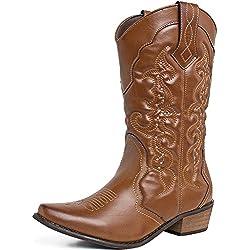 SheSole Women's Western Cowboy Cowgirl Boot, Tan, 8 B(M) US