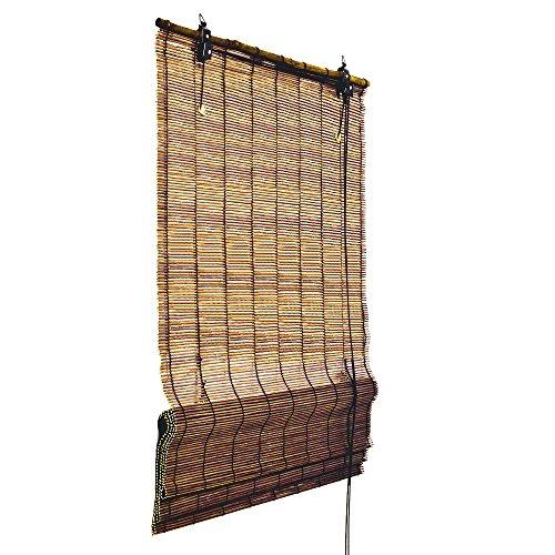 Bambus Raffrollo 80 cm breit und 160 cm lang in braun - Fenster Sichtschutz Rollos von Sol Royal in TOP QUALITÄT