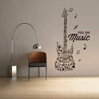 Wall Decal Vinyl Sticker Decals Electric Guitar Musican Rock Man Music Notes Sign Feel Music Lettering (Z3071)