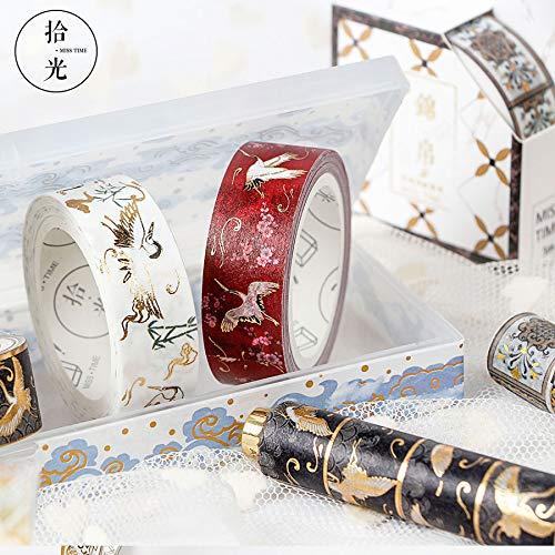 Creative exquisita caja de regalo y cinta calidad de papel adhesivo de alta calidad cinta material de bricolaje Palma de bronceado todo el rollo Pegatina Decorativa caja de regalo,晋文公烫金×24 de67f3