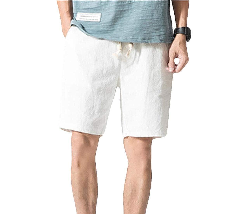 Doufine-men clothes Mens Loose Fit Beach Trousers Solid Color Linen/&Cotton Casual Shorts