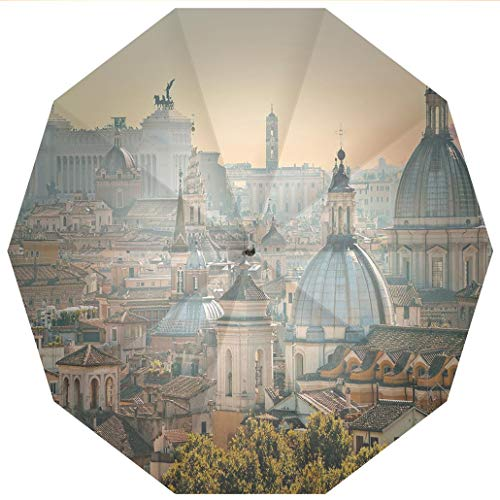 Compact Travel Umbrella UV Protection Auto Open Close City,View of Rome from Castel SantAngelo Italy Historical Landmark Vatican,Pale Windproof - Waterproof - Men - Women -Lightweight- 45 inches