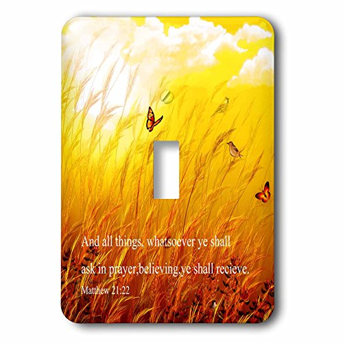 3dRose Dream Essence Designs-Bible Quotes - Bible scripture from Mathew on a meadow with birds and butterflies. - Light Switch Covers - single toggle switch (lsp_266087_1)