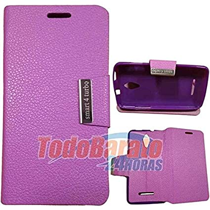 Funda Morada Libro con Soporte para Alcatel Vodafone Smart 4 Turbo