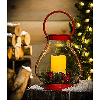 New Creative Red Vintage Holiday Battery Powered Outdoor Safe Metal Lantern