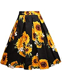 Women's Pleated Vintage Skirt Floral Print A-line Midi...