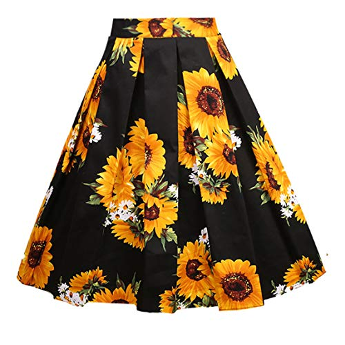 Girstunm Women's Pleated Vintage Skirt Floral Print A-line Midi Skirts with Pockets Sun-Flowers XXX-Large