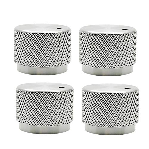 Solid Machined Metal Amplifier Knob Black Aluminum Rotary Control Potentiometer Knob Knobs (Silver)