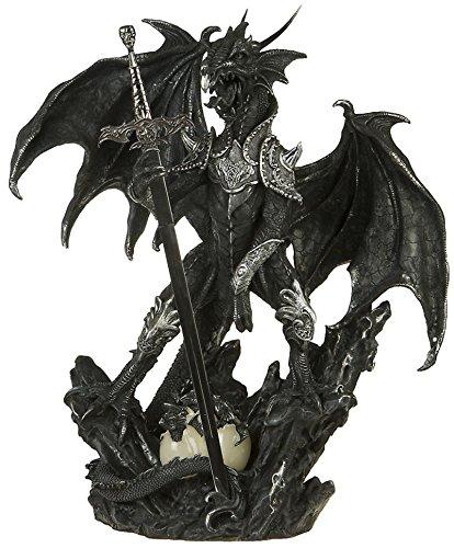 Mystical Drachenfigur mit Schwert und Rüstung Gothic Dragon Fantasy