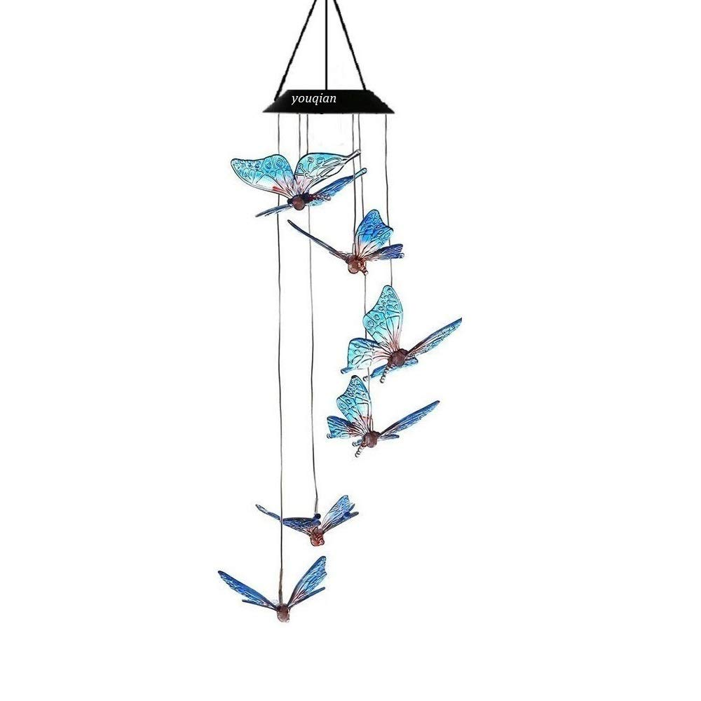 Youqian Solar Butterfly Wind Chimes, Color-Changing Moving Rotating Wind Chime Waterproof Automatic Light Sensor Outdoor Decor for Home Party Balcony Porch Patio Garden