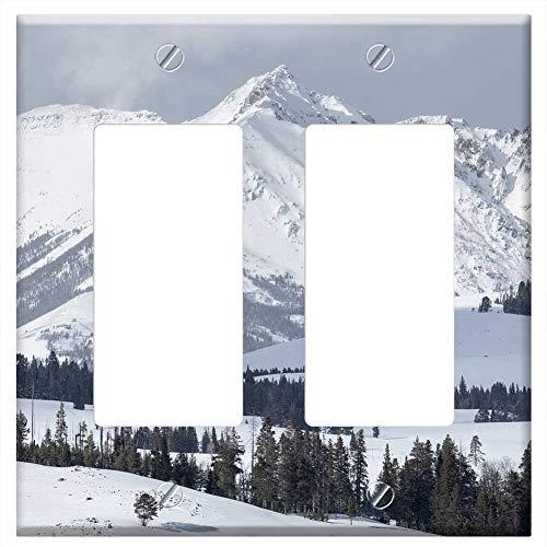 Switch Plate Double Rocker/GFCI - Electric Peak Mountains Gallatin Range Snow