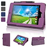 Evecase Acer Iconia One 7 B1-730HD Case, SlimBook Leather Folio Stand Case with Magnetic Closure for Acer Iconia One 7 B1-730 B1-730HD 7-Inch Android Tablet (2014 Released) -Purple