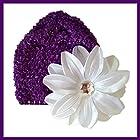 Violet - Blanc Bonnet + fleur tropicale bébé 0 à 18 mois