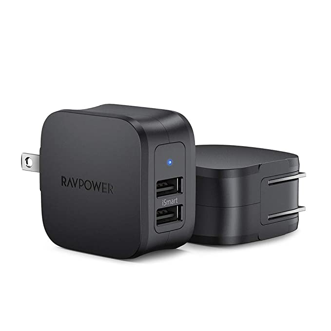 Paquete de 2 Mini Adaptador USB para Coche de 24 W 4,8 A con Doble Puerto iSmart 2.0 para iPhone XS//XR//XS MAX Galaxy S9//S8//Note 8 y m/ás Negro RAVPower Cargador de Coche