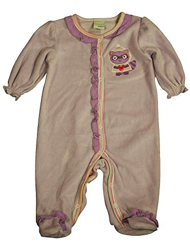 Happi by Dena - Baby Girls Long Sleeve Footed Velour Coverall, Purple 34845-3-6Months (Footed Velour Coverall)