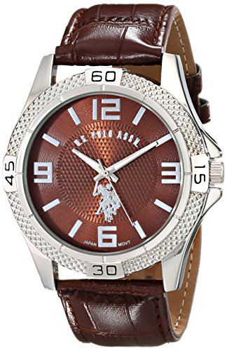 U.S. Polo Assn. Classic Mens USC50227 Silver-Tone Watch with Faux-Leather Band
