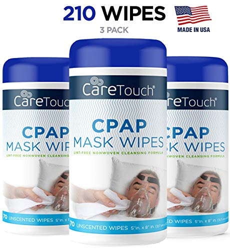 (Care Touch CPAP Cleaning Mask Wipes - Unscented, Lint Free - 70 Wipes, Pack of 3-210 Wipes)