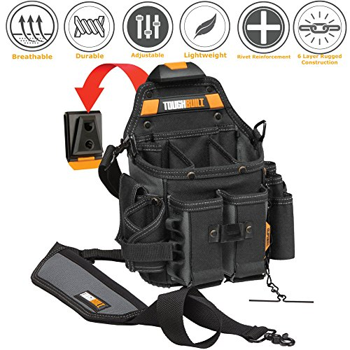 ToughBuilt - Journeyman Electrician Pouch + Shoulder Strap, Adjustable Flashlight Holder, Adjustable Tool Pockets, 21 Pockets and Loops, (Patented ClipTech Hub & Belts) (TB-CT-114-2)