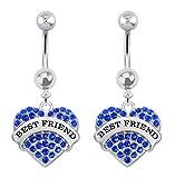 Best playful piercings Friends Unisex Rings - 2 pc Best Friend Blue paved Heart dangle Review