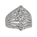 Sterling Silver Rhodium Pave Bezel Fashion Cubic Zirconia Ring