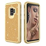 Galaxy S9 Case - Daker Glitter Cute Phone Case Girls - Bling Diamond Rhinestone Bumper Ring Stand Sparkly Luxury Thin Soft Protective Samsung Galaxy S9 Case for Girl Women 5.8 inch 2018 (Gold)