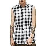 LIWEIKE Mens Hipster Hip Hop Sleeveless Side Zipper Plaid Shirt Vest (Black, Large)