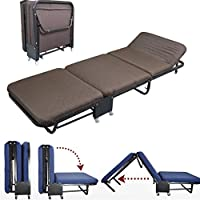All In one Rollaway Guest Bed Heavy Duty Steel Frame With Foam Mattress With Diamond Style Cover(Single Size(26Wide), Coffee)
