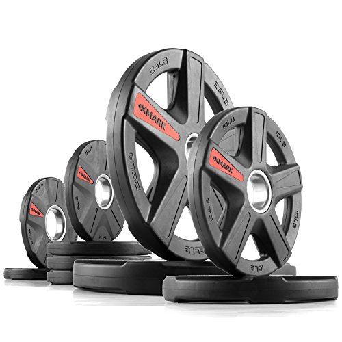 XMark Texas Star 95 lb Set Olympic Plates, Patented Design, One-Year Warranty, Olympic Weight Plates by XMark Fitness (Image #5)